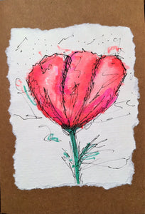 Handpainted Watercolour Greeting Card - Red/Pink Tulip Design - eDgE dEsiGn London