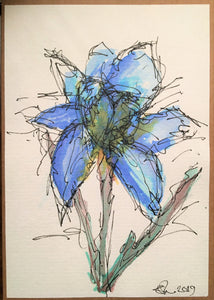 Handpainted Watercolour Greeting Card - Abstract Blue Iris Flower Design - eDgE dEsiGn London