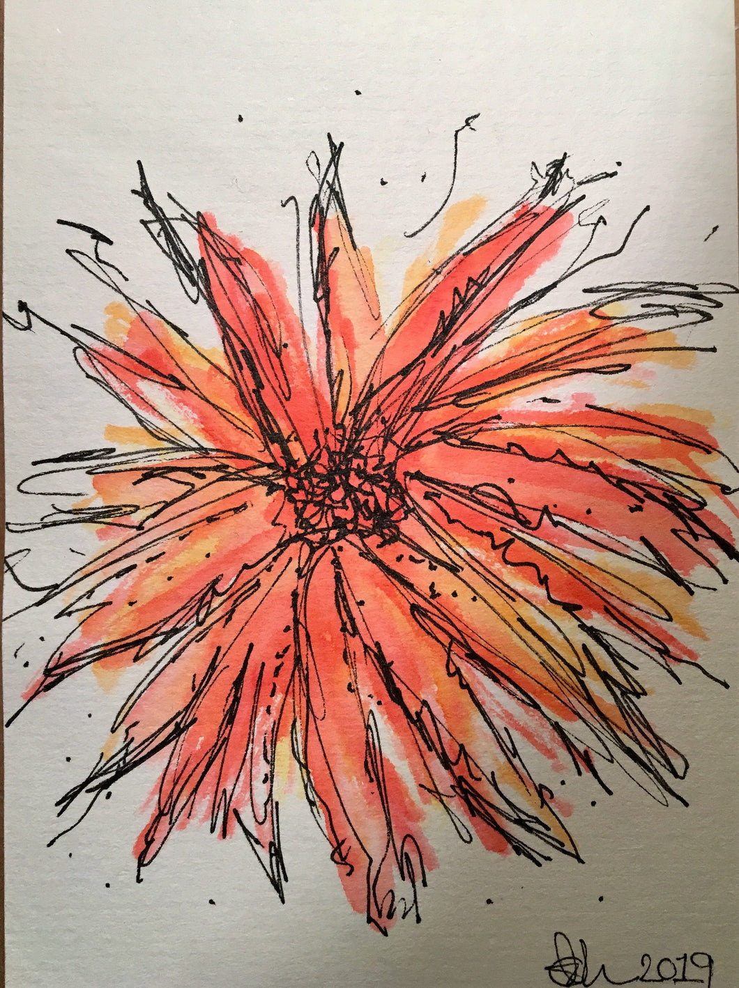 Handpainted Watercolour Greeting Card - Abstract Orange/Yellow Flower - eDgE dEsiGn London