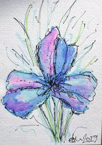 Handpainted Watercolour Greeting Card - Abstract Blue/Purple Iris Flower - eDgE dEsiGn London