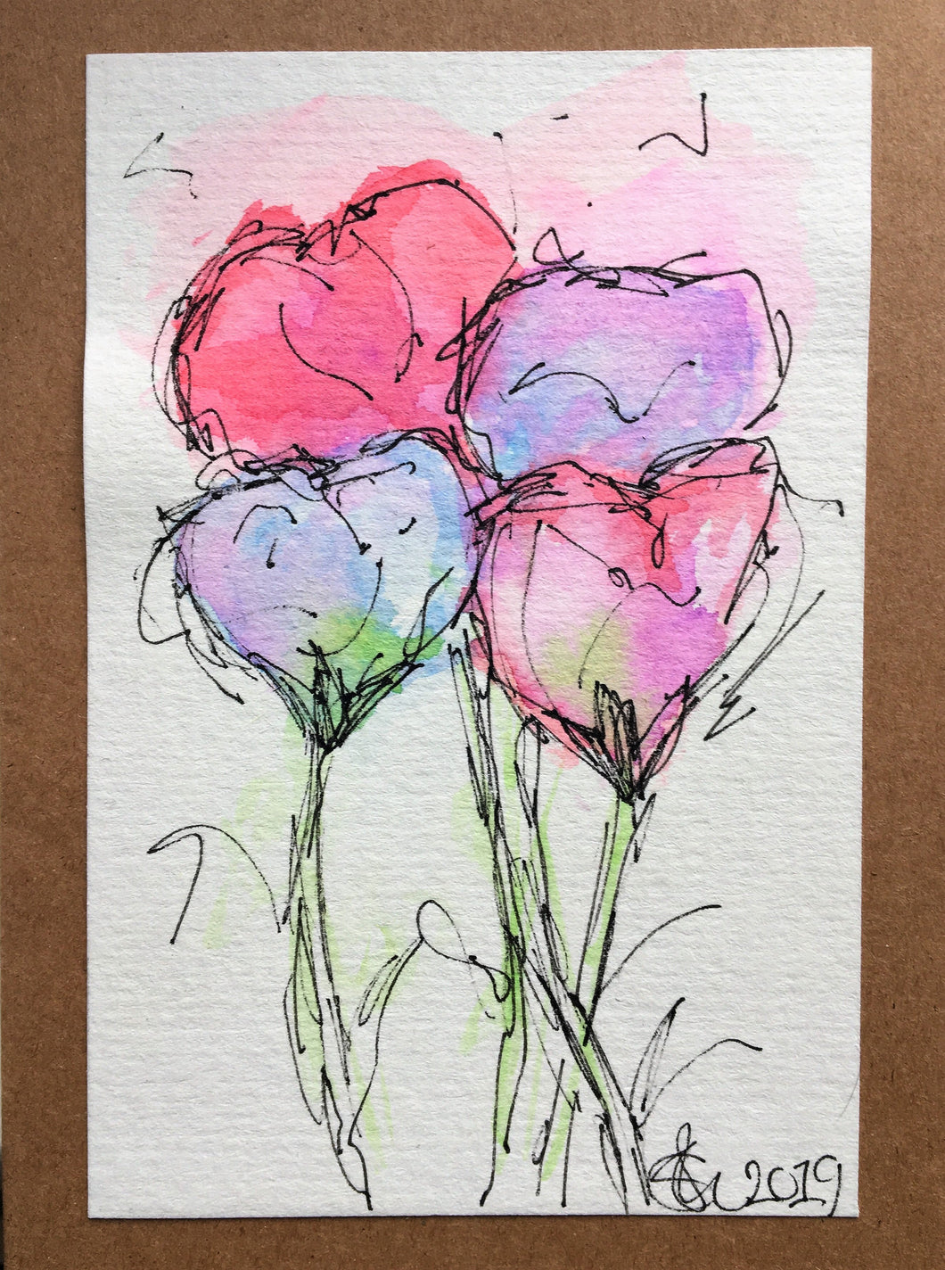 Handpainted Watercolour Greeting Card - Abstract Sweet Peas - eDgE dEsiGn London