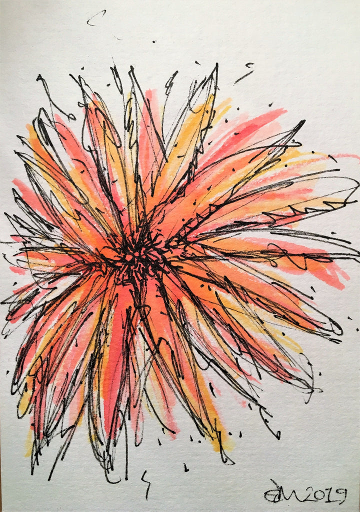 Handpainted Watercolour Greeting Card - Abstract Orange/Red/Yellow Flower Design - eDgE dEsiGn London