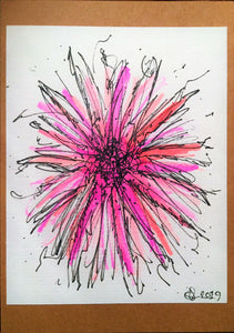 Handpainted Watercolour Greeting Card - Abstract Pink/Purple/Orange Flower Design - eDgE dEsiGn London