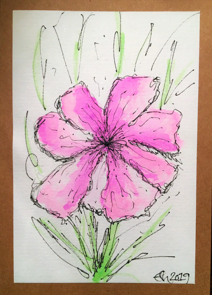 Handpainted Watercolour Greeting Card - Abstract Lilac Flower with Green Design - eDgE dEsiGn London