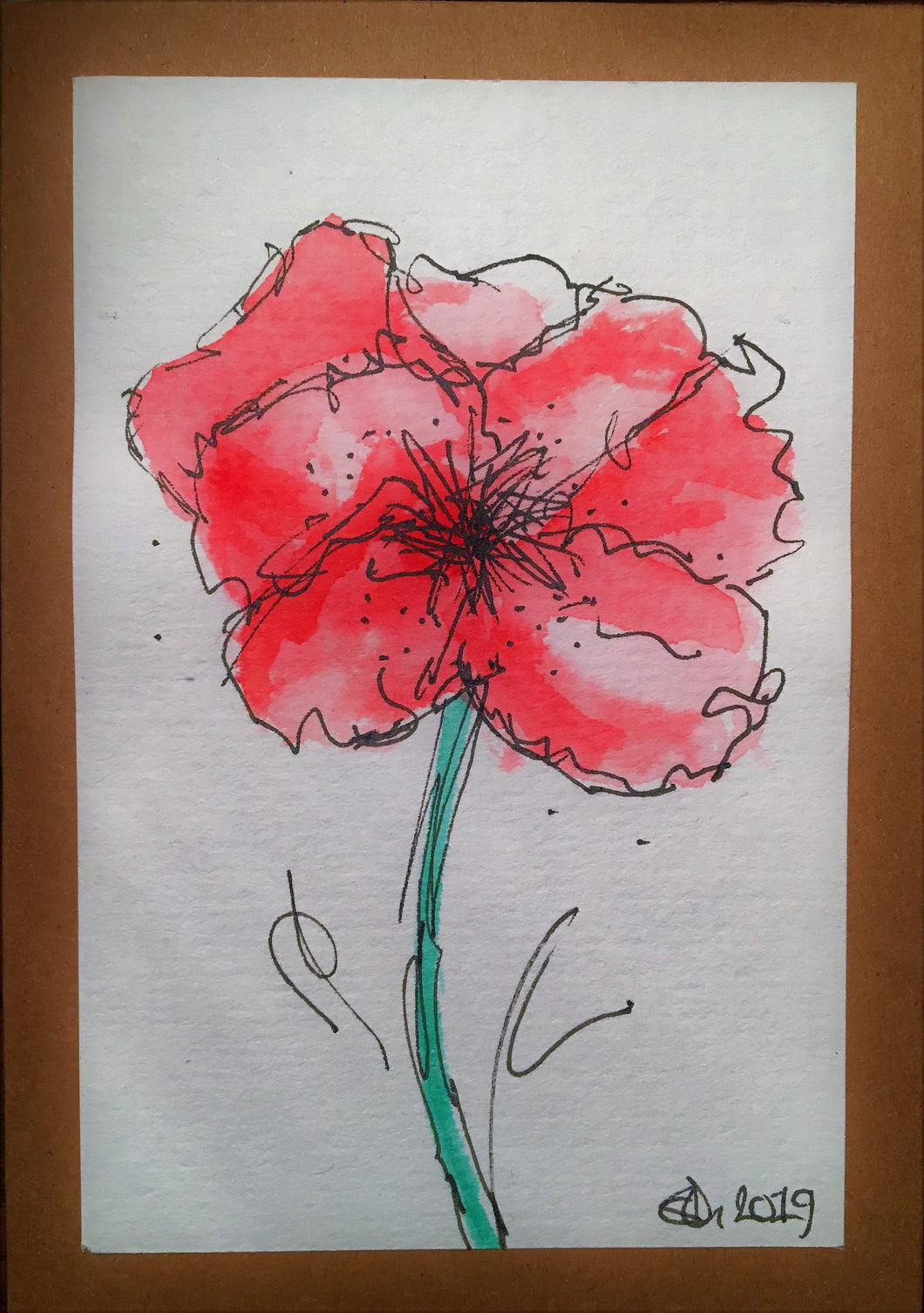 Handpainted Watercolour Greeting Card - Abstract Red/Pink Poppy Flower - eDgE dEsiGn London