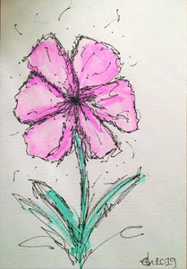 Handpainted Watercolour Greeting Card - Abstract Purple Flower Design - eDgE dEsiGn London