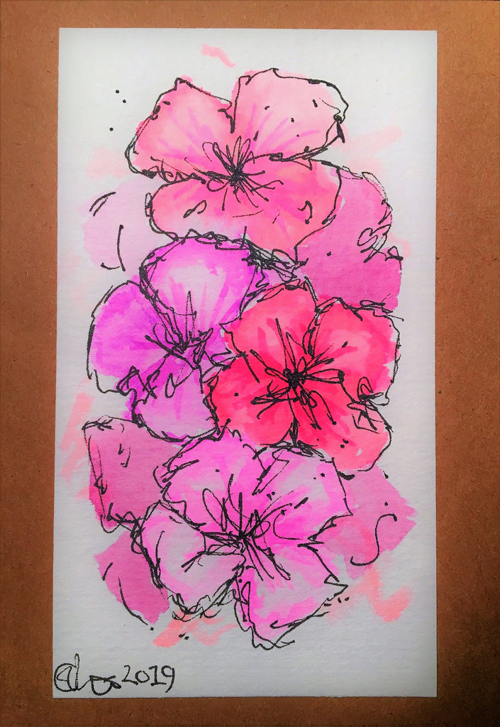 Handpainted Watercolour Greeting Card - Abstract Pink/Purple Pansy Design - eDgE dEsiGn London