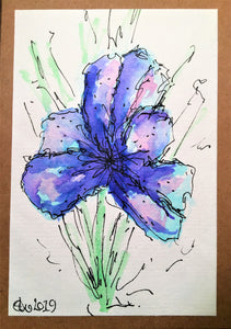 Handpainted Watercolour Greeting Card - Abstract Dark Blue/Purple Iris Flower - eDgE dEsiGn London