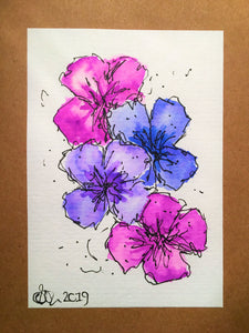 Handpainted Watercolour Greeting Card - Abstract Blue/Purple Pansy Design - eDgE dEsiGn London