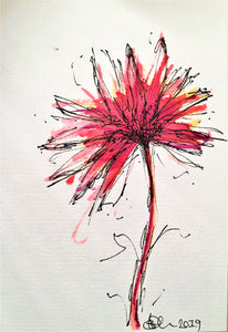 Handpainted Watercolour Greeting Card - Abstract Red Spikey Flower Design - eDgE dEsiGn London