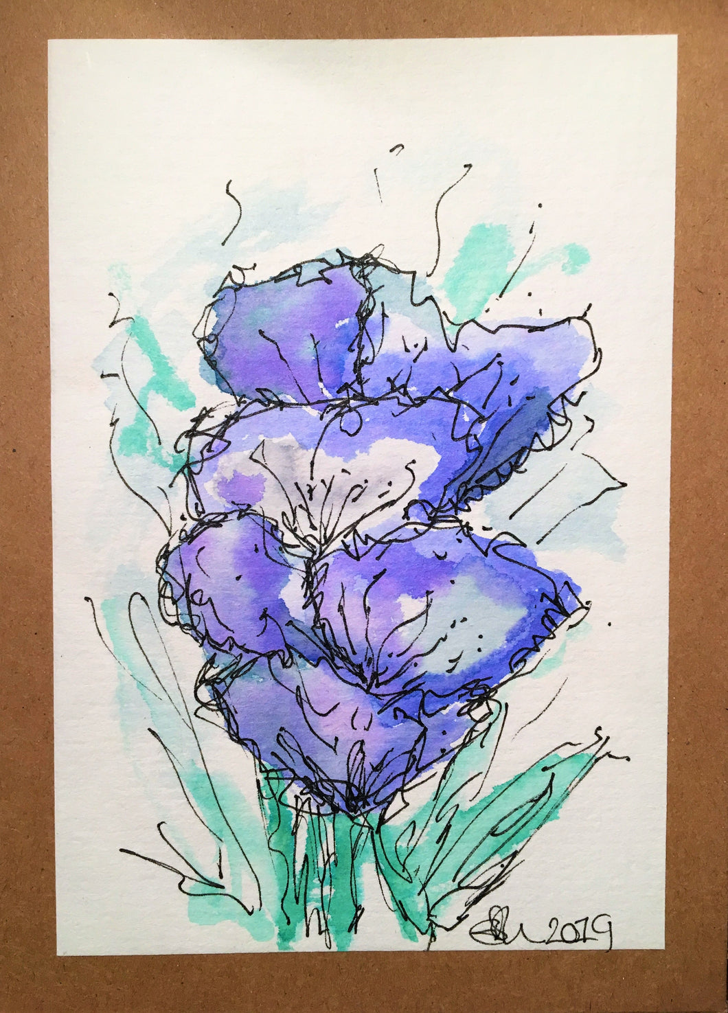 Handpainted Watercolour Greeting Card - Abstract Blue/Purple Flowers Design - eDgE dEsiGn London