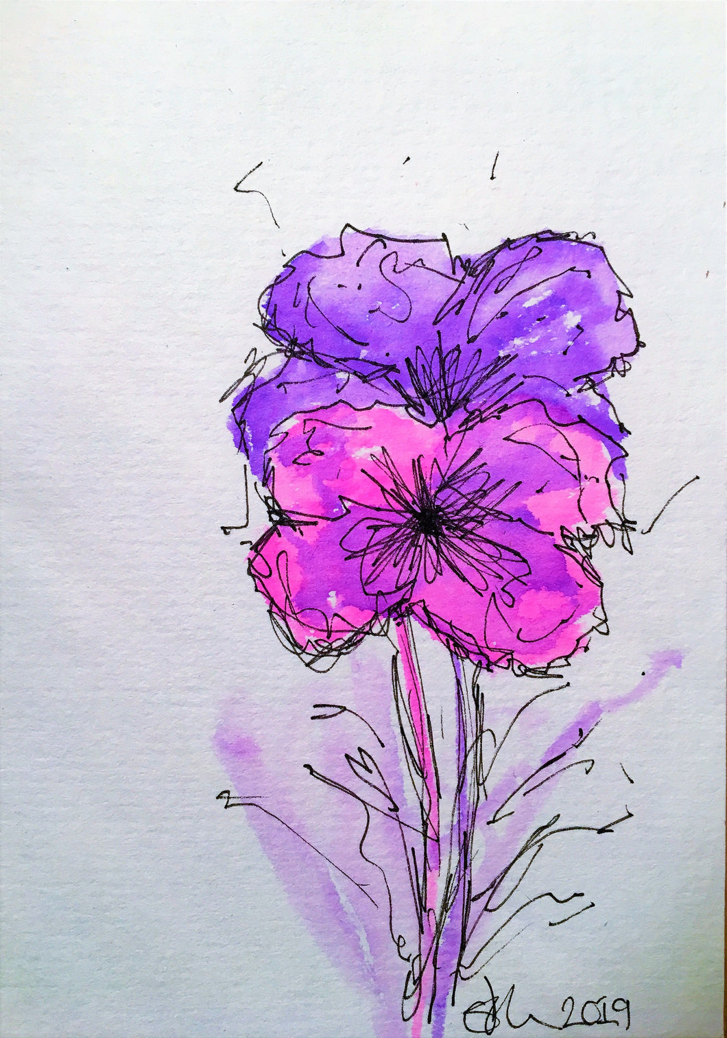 Handpainted Watercolour Greeting Card - Abstract Pink /Purple Flowers Design - eDgE dEsiGn London