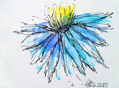 Handpainted Watercolour Greeting Card - Abstract Blue/Turquoise/Yellow Flower Design - eDgE dEsiGn London