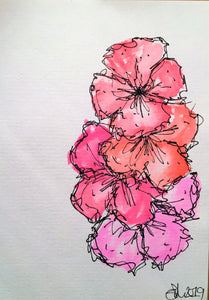 Handpainted Watercolour Greeting Card - Abstract Pink/Orange Pansy Flowers Design - eDgE dEsiGn London