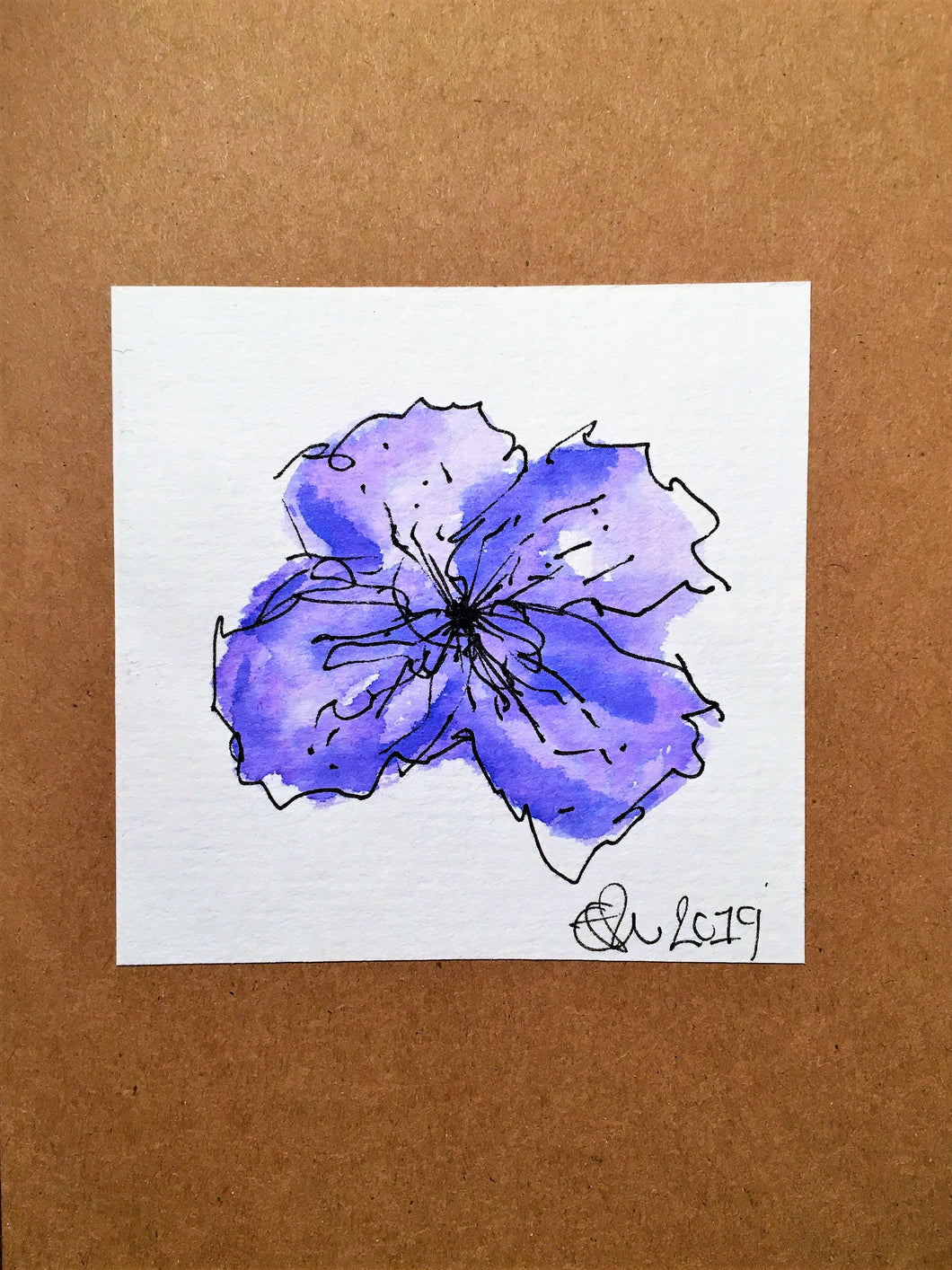 Handpainted Watercolour Greeting Card - Abstract Purple Pansy Flower Design - eDgE dEsiGn London