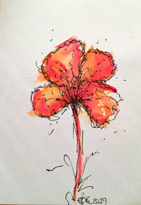 Handpainted Watercolour Greeting Card - Abstract Red/Orange Pansy Flower Design - eDgE dEsiGn London