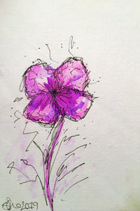 Handpainted Watercolour Greeting Card - Abstract Purple/Lilac Flower Design - eDgE dEsiGn London