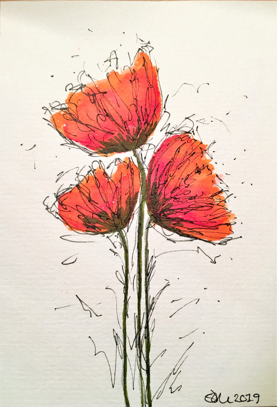 Handpainted Watercolour Greeting Card - Small Abstract Red/Orange Poppy Flowers - eDgE dEsiGn London