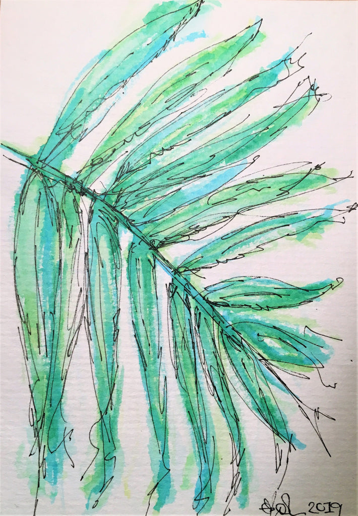 Handpainted Watercolour Greeting Card - Abstract Green/Blue Leaf Design - eDgE dEsiGn London