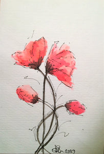 Handpainted Watercolour Greeting Card - Red Poppies and Buds Design - eDgE dEsiGn London