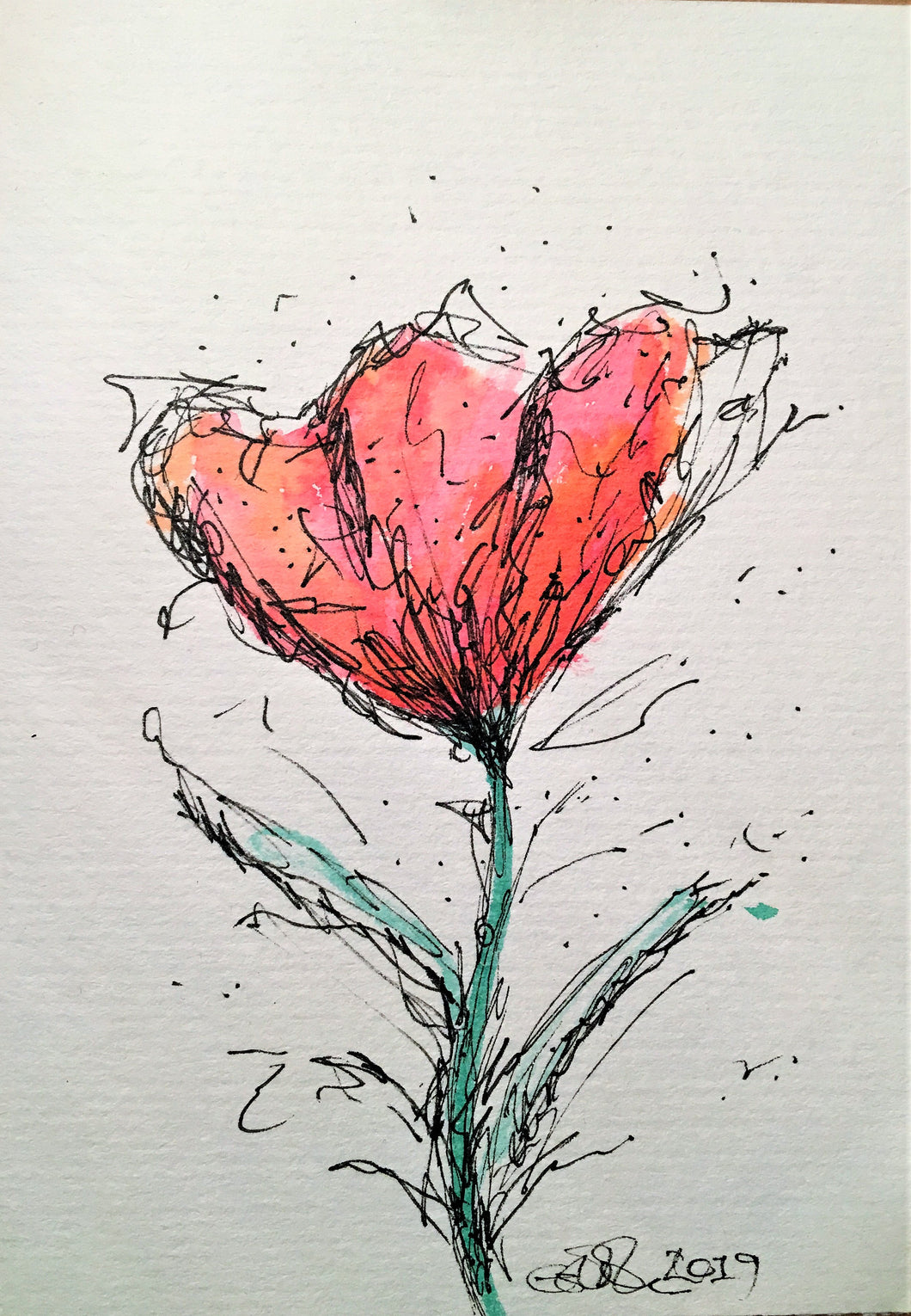 Handpainted Watercolour Greeting Card - Abstract Red/Orange Poppy Flower - eDgE dEsiGn London