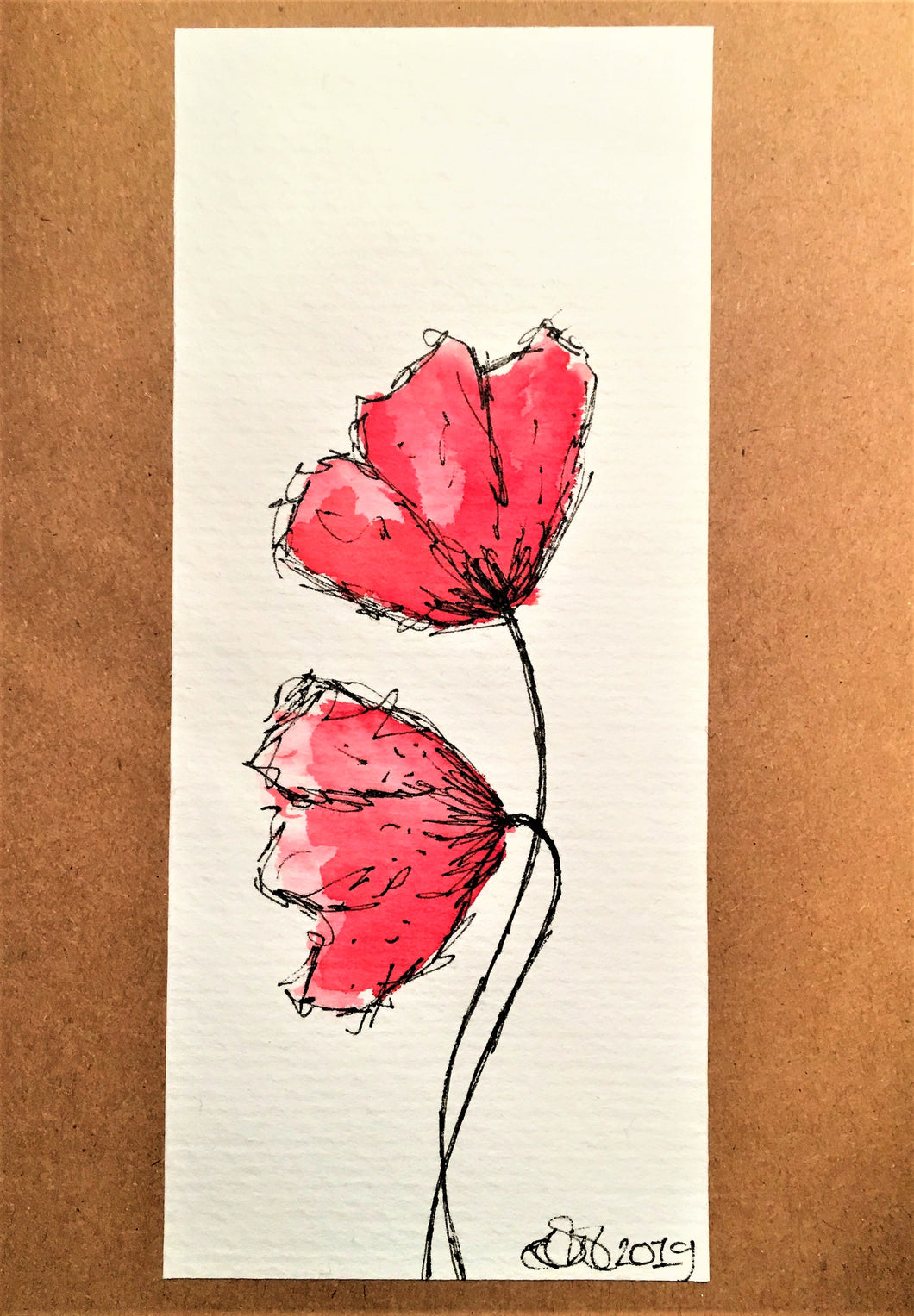 Handpainted Watercolour Greeting Card - Two Abstract Red/Pink Poppies Design - eDgE dEsiGn London