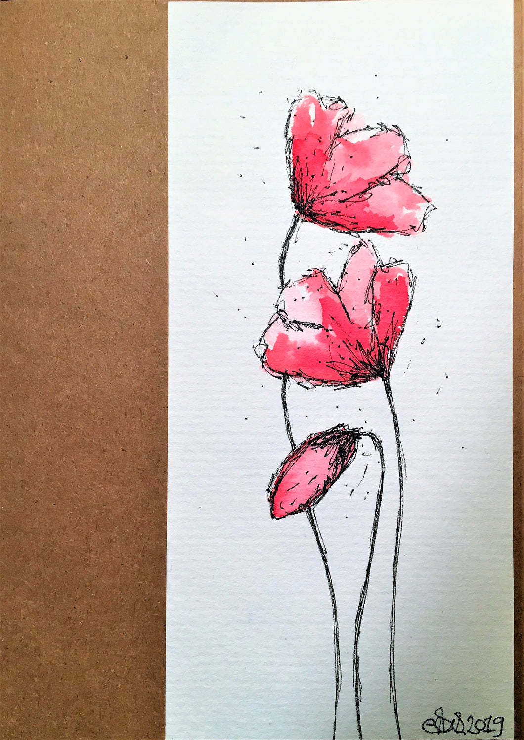 Handpainted Watercolour Greeting Card - Three Abstract Red/Pink Poppies Design - eDgE dEsiGn London