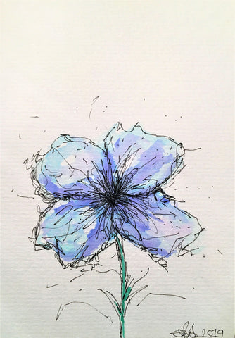 Handpainted Watercolour Greeting Card - Abstract Blue/Pale Blue Flower Design - eDgE dEsiGn London