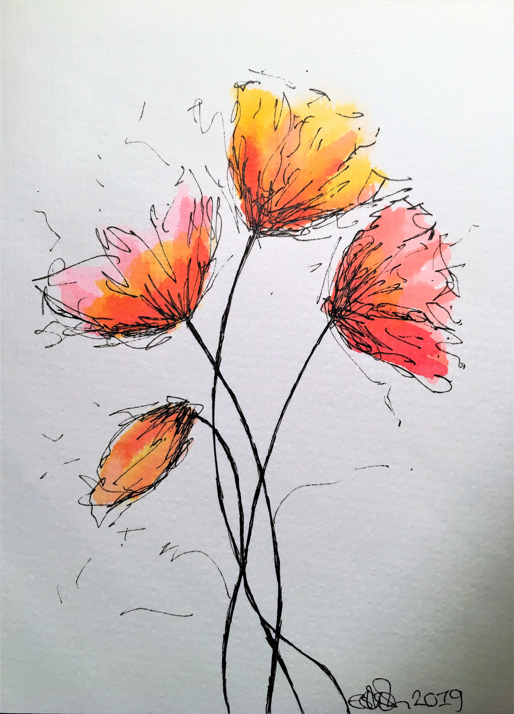 Handpainted Watercolour Greeting Card - Abstract Red/Orange Poppies Design - eDgE dEsiGn London