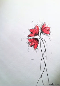 Handpainted Watercolour Greeting Card - Abstract Small Red Poppies Design - eDgE dEsiGn London