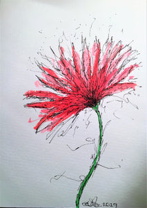 Handpainted Watercolour Greeting Card - Abstract Red/Pink Spiky Flower Design - eDgE dEsiGn London