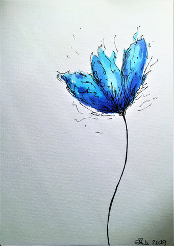 Handpainted Watercolour Greeting Card - Abstract Blue Tulip Design - eDgE dEsiGn London
