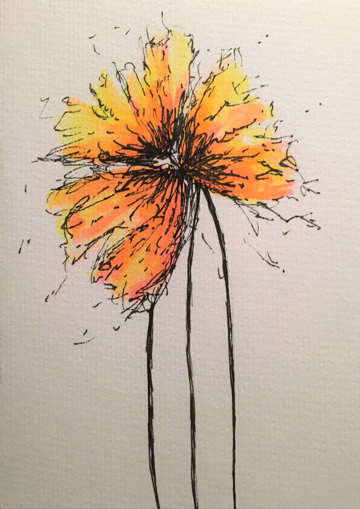 Handpainted Watercolour Greeting Card - Abstract Orange/Yellow Flowers Design - eDgE dEsiGn London