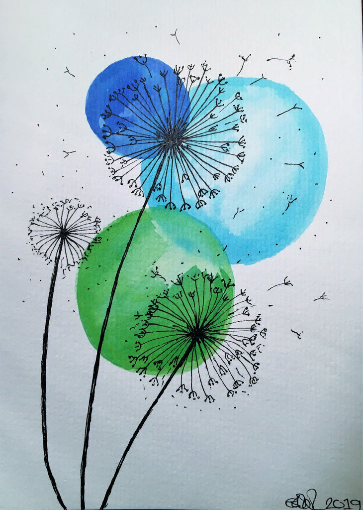 Handpainted Watercolour Greeting Card - Abstract Blue/Green Circles with Dandelions - eDgE dEsiGn London