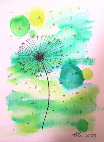 Handpainted Watercolour Greeting Card - Abstract Green with Dandelions - eDgE dEsiGn London