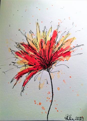 Handpainted Watercolour Greeting Card - Abstract Flower with splatter - eDgE dEsiGn London