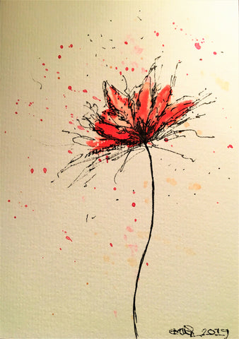 Handpainted Watercolour Greeting Card - Abstract Red/Pink Flower with splatter - eDgE dEsiGn London