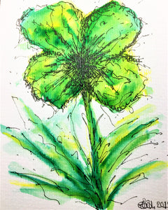 Hand-painted Greeting Card - Abstract Green/Yellow Pansy Design - eDgE dEsiGn London