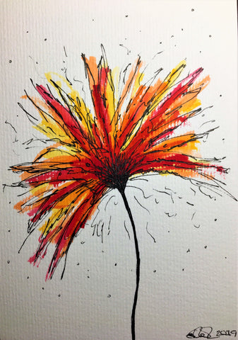 Hand-painted Greeting Card - Abstract Red/Orange/Yellow Flower Design