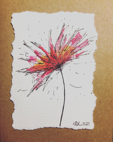 Hand-painted Greeting Card - Abstract Red/Orange/Pink Flower Design