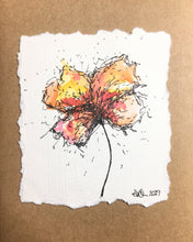 Hand-painted Greeting Card - Abstract Yellow/Orange/Pink/Red Flower Design - eDgE dEsiGn London