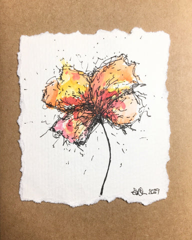 Hand-painted Greeting Card - Abstract Yellow/Orange/Pink/Red Flower Design