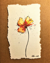 Hand-painted Greeting Card - Abstract Yellow/Orange/Red Poppy Design - eDgE dEsiGn London