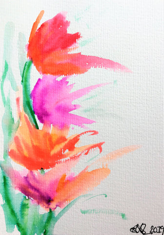 Hand-painted Greeting Card - Abstract Pink, Orange and Purple Tulip Design