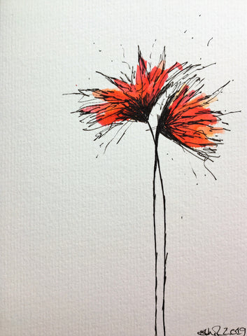 Hand-painted Greeting Card - Red, Orange and Yellow Spiky Flower Design