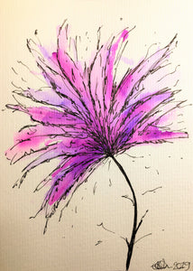 Hand-painted greeting card - Pink, purple and lilac spiky flower design - eDgE dEsiGn London