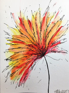 Hand-painted greeting card - Yellow, orange and red spiky flower design - eDgE dEsiGn London