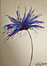 Hand-painted greeting card - Purple, lilac and blue spiky flower design - eDgE dEsiGn London