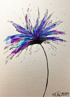 Hand-painted greeting card - Purple, lilac and blue spiky flower design