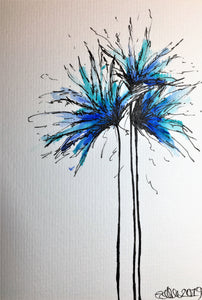 Hand-painted greeting card - Blue, Jade, Turquoise spiky flowers design - eDgE dEsiGn London